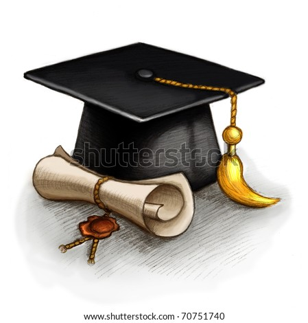 Drawing of graduation cap and diploma - stock photo
