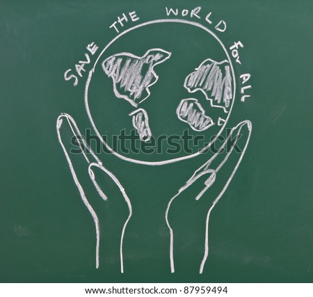 Drawing of hands hold earth on chalkboard - stock photo