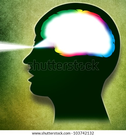 Drawing of head with vision and colored brain like prism. Green Textured Background.