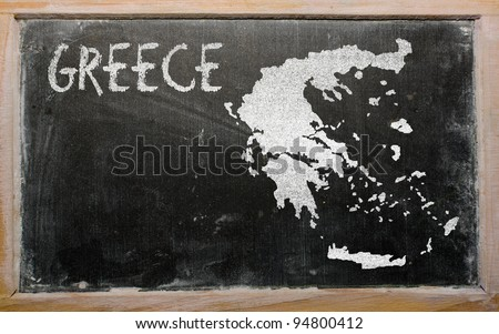 drawing of hungary on greece, drawn by chalk - stock photo