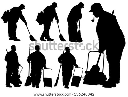 drawing of janitors in uniform with tools - stock photo