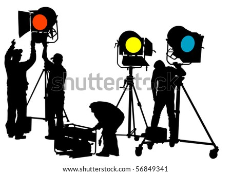 drawing of lighting equipment on stage - stock photo
