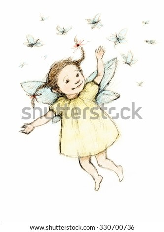 drawing of little fairy with butterflies - stock photo