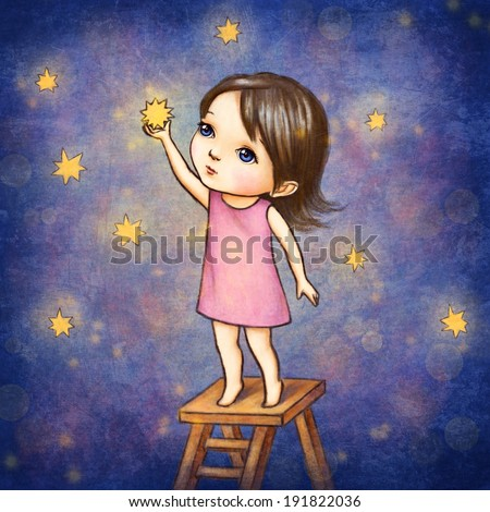 Drawing of Little Girl With Stars - stock photo