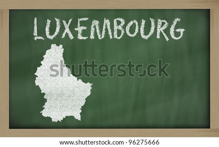 drawing of luxembourg on chalkboard, drawn by chalk