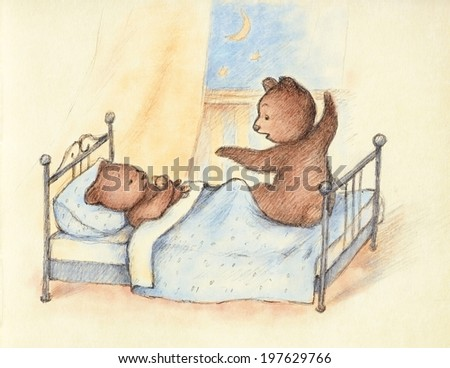 Drawing of Mama Bear telling bedtime story. - stock photo