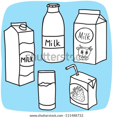 Drawing of milk and diary products - hand-drawn illustration - stock photo