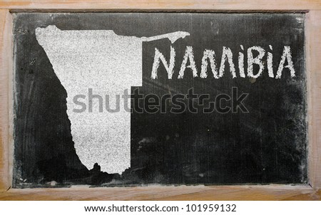 drawing of namibia on blackboard, drawn by chalk