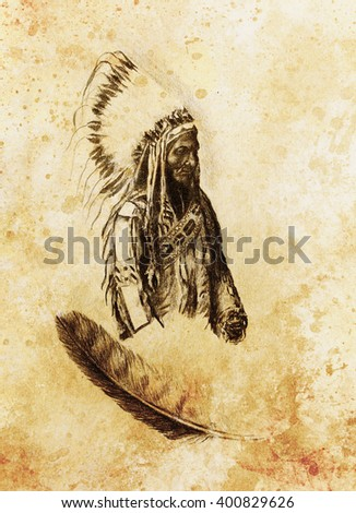 drawing of native american indian foreman Sitting Bull - Totanka Yotanka according historic photography, with beautiful feather headdress. - stock photo