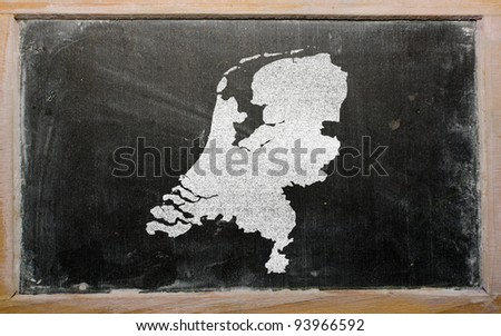 drawing of netherlands on chalkboard, drawn by chalk - stock photo