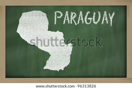 drawing of paraguay on blackboard, drawn by chalk