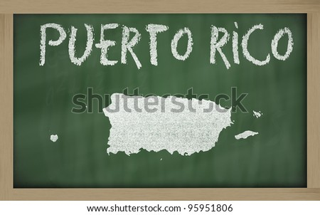 drawing of puerto rico on blackboard, drawn by chalk - stock photo