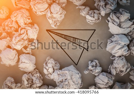 drawing of rocket paper with trash paper innovation ideas concept.jpg - stock photo