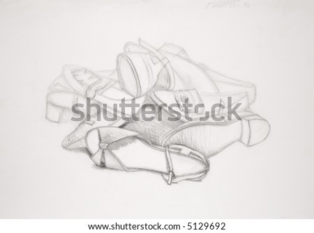 drawing of shoes - stock photo