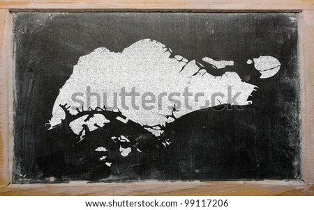 drawing of singapore on blackboard, drawn by chalk - stock photo