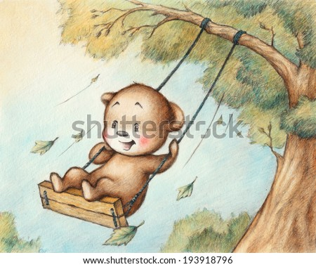 Drawing of Swinging Teddy Bear - stock photo