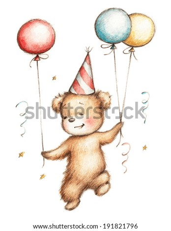 Drawing of Teddy Bear in Birthday Hat with Balloons - stock photo