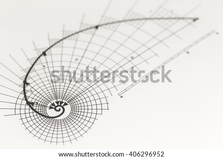 drawing of the golden section - stock photo