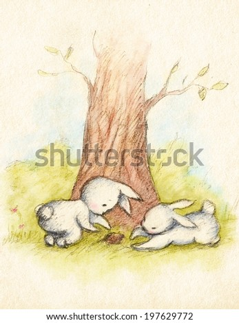 Drawing of two little bunnies under the tree - stock photo
