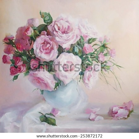 drawing oil, flowers, still life, painting, roses - stock photo