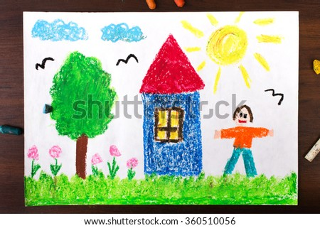 drawing oil pastels: country house and happy men - stock photo