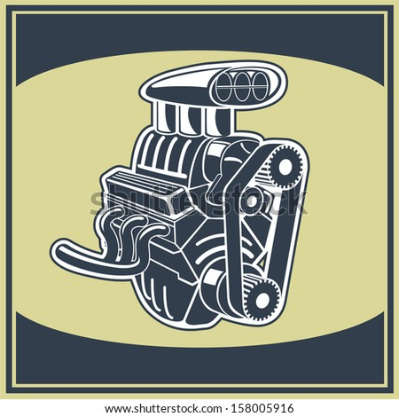 Drawing old engine on graph vintage . - stock photo