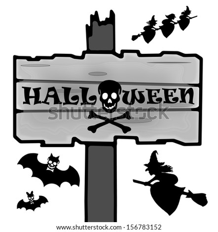 Drawing old halloween signpost made of grey wooden board, simple illustration - stock photo