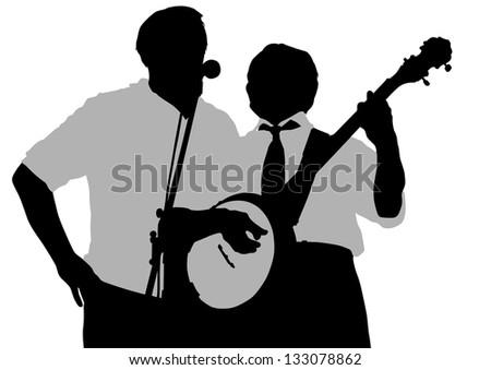 drawing old man whit banjo - stock photo