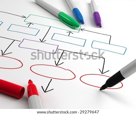 Drawing organization chart - stock photo