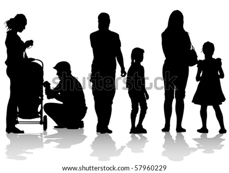 drawing parents and children. Silhouettes of people