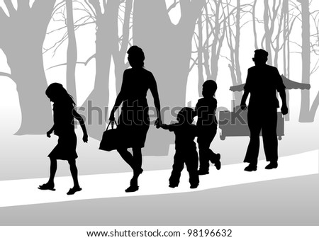 drawing parents and childs in park - stock photo
