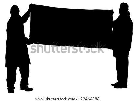 drawing people whit big banner - stock photo