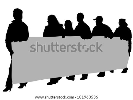 drawing people with big banner - stock photo