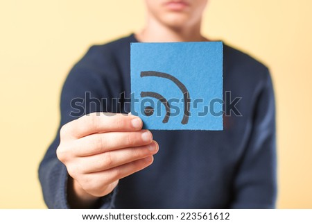 drawing picture in hand wi-fi - stock photo