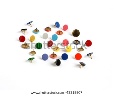 drawing pins thumb tacks in many colors isolated on white background - stock photo