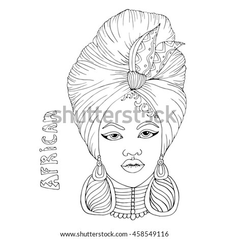 Drawing portrait of a beautiful African girl in a scarf drape with a knot on her head. Hand drawn inscription African. Isolated on a white background