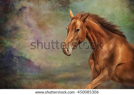 Drawing Red horse portrait oil painting on old vintage color grunge paper background - stock photo