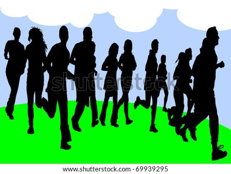 drawing running athletes. Silhouettes of people