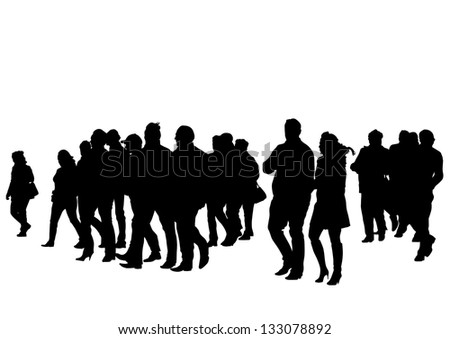 drawing silhouette crowds - stock photo