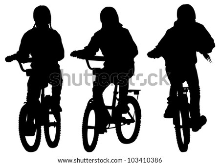 drawing silhouette of a cyclist girl. Silhouette of people