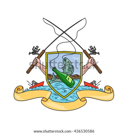 Drawing sketch style illustration of hand holding fishing rod and reel hooking a beer bottle and fish with deep sea fishing boat on side set inside crest shield shape coat of arms done in retro style - stock photo