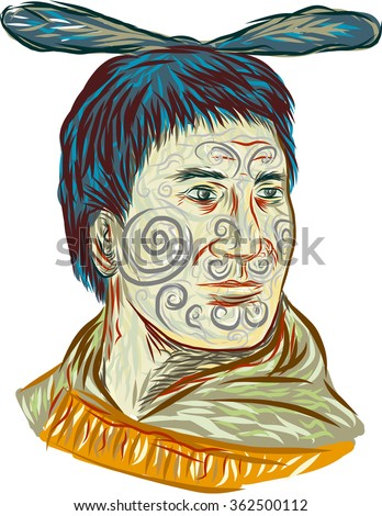 Drawing sketch style illustration of Maori chief warrior chieftain head with tattoos  on face and feather on head set on isolated white background.