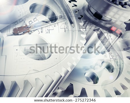 Drawing stuff with watchwork wheels and calculator abstract background, close-up view