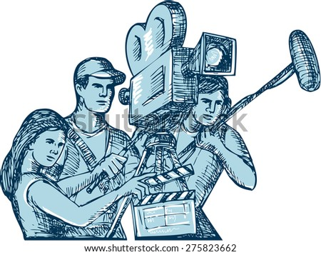 Drawing style illustration of a film crew cameraman soundman with clapperboard, microphone, video film camera filming set on isolated white background.  - stock photo