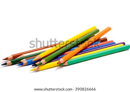 Drawing supplies, Colour pencils isolated on white background close up - stock photo