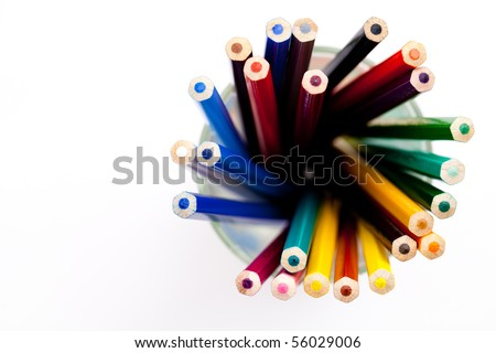 drawing supplies, pencil and pastel - stock photo