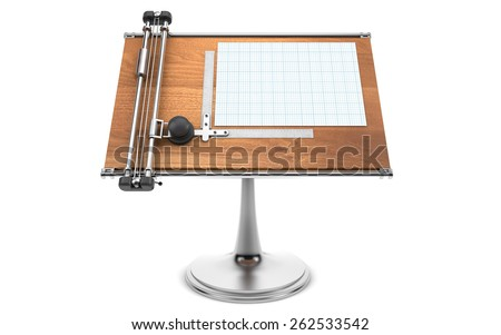 drawing table with project blueprint - stock photo