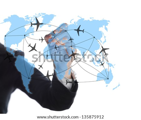 drawing the air on a whiteboard map - stock photo