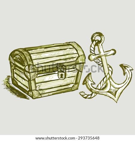 drawing chest sea anchor closed treasure stock illustration