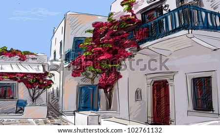 Drawing to the greek town - stock photo